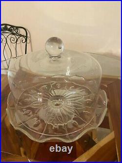 Princess House Heritage Cake Dome & Pedestal Plate 11 x 9