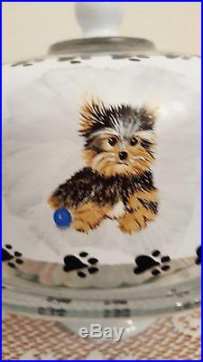 Puppies and Dogs Paw Prints Cake Pedestal Plate & Dome Hand Painted By Lia