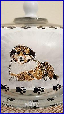 Puppies and Dogs Paw Prints Pedestal Glass Cake Plate & Dome Hand Painted