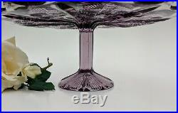 Purple Pedestal Cake Plate Stand Vintage Panelled Thistle Amethyst Large 11