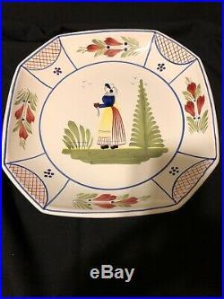 QUIMPER SOLEIL YELLOW PLATE Pedestal Cake Plate