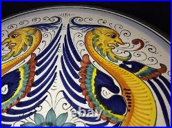 RAFFAELLESCO RICCO Majolica 13 Pedestal Footed Cake Stand Plate Deruta, Italy