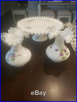RARE FENTON VIOLETS in the SNOW SILVERCREST 13 PEDESTAL CAKE PLATE and 2 VASES