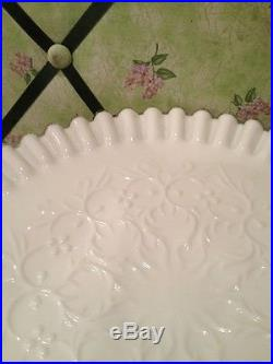 RARE FENTON WHITE To Clear Ruffled LACE PEDESTAL CAKE STAND PLATE 11 Inch Dia