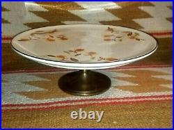 RARE OLD HALLS JEWEL TEA AUTUMN LEAF PEDESTAL CAKE STAND PLATE w METAL BASE C609
