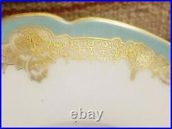 RARE PORCELIN PEDESTAL DESSERT SERVING TRAY CAKE PLATE TURQUOISE OLD PARIS 1880s