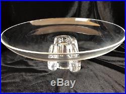 RARE Stuben Centerpiece Signed Cake Plate Pedestal Glass Mid-Century 4.5x11.5