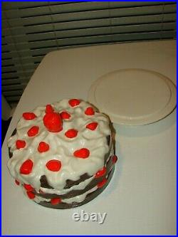 RARE Vintage Strawberry Chocolate Pedestal Cake Stand Plate Cover Ceramic Dish