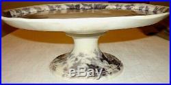 RARE c1910 ANTIQUE BRYONIA CAKE PEDESTAL PLATE 14.5 INCES