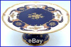 REICHENBACH GERMANY ECHT KOBALT BLUE GOLD PEDESTAL CAKE STAND PLATE 11.5 cobalt
