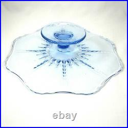 Radiance New Martinsville Ice Blue Pedestal Cake Plate Stand Footed Vintage 1940