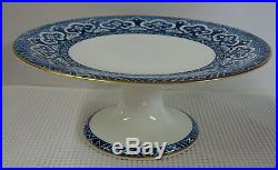 Ralph Lauren EMPIRE BLUE Footed Cake Plate on Pedestal NEW UNUSED
