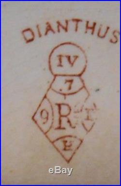 Rare Antique 1881 Red Ceramic Dianthus Transferware English Pedestal Cake Plate