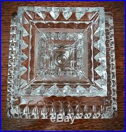 Rare Antique EAPG 1890 Adams Square Pedestal Cake Plate 9 x 9