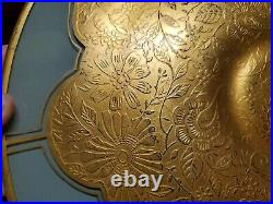 Rare Antique Glass Pedestal Cake Plate with Gold Encrusted Floral Tiffin