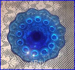 Rare COBALT BLUE Glass Moon & Star Pedestal Cake Plate 9