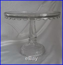 Rare EAPG Antique Duncan Glass Clear Glass Pedestal Cake Plate EUC
