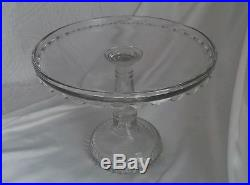 Rare EAPG Antique Duncan Glass Clear Glass Pedestal Cake Plate EUC
