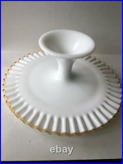 Rare Fenton Gold Crest Milk Glass Pedestal Cake Stand Plate Approximately 13x5