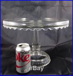Rare HTF Extra Large Huge Antique EAPG Clear Glass Pedestal Cake Stand Plate