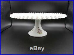 Rare Htf Fenton Violets In The Snow Silvercrest 13 Pedestal Cake Plate