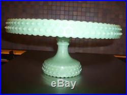 Rare L. E. Smith Jadeite Jadite Hobnail Cake Stand Pedestal Plate Mint Condition