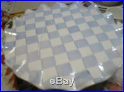 Rare Mackenzie Child's Blue & White Ceramic HONEYMOON Pedestal Cake Plate