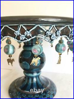 Rare Mackenzie Childs Wittika Blue Pedestal Cake Plate