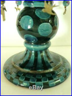 Rare Mackenzie-childs Wittika Blue Pedestal Cake Plate