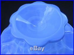 Rare Martha Stewart by Mail MBM Blue Milk Glass Pedestal Cake Stand Plate 12