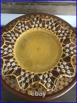 Rare McKenzie Child's Cake Stand/ Pedestal platter Roses & Animal Bead Charms