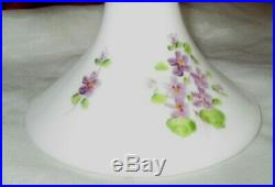 Rare Retired Fenton Hand Painted Violets In The Snow Pedestal Cake Plate 13