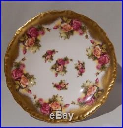 Rare Royal Chelsea GOLDEN ROSE Large PEDESTAL CAKE Plate Stand Gold Gilding MINT