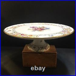 Rare Schumann Dresden Flowers Empress 12 Cake Plate Footed Pedestal