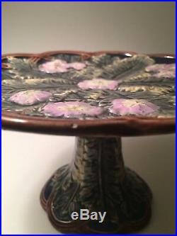 Rare Vintage Antique Majolica Pedestal Cake Pie Plate