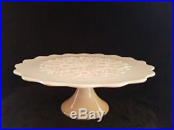 Rare Vintage Fenton Glass Spanish Lace Pastel PINK Cake Plate Stand Pedestal