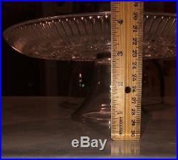 Rare Vintage Pressed Cut Crystal 3.5 Pedestal Cake Plate Stand 11 Dome Lid