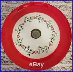 Red Flowers Cake Pedestal Stand Plate & Dome Hand Painted by Lia