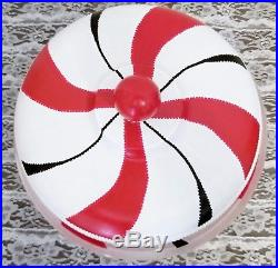 Red White Peppermint Candy Stripes Cake Pedestal Stand Plate & Dome Hand Painted