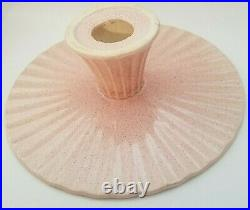 Red Wing Pottery Speckled Pink Ruffled Pedestal Cake Plate Server Dish