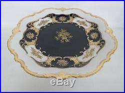 Reichenbach Echt Kobalt Blue and Gold Porcelain Pedestal Cake Plate Stand 892C