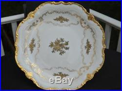 Reichenbach Floral Gold Embossed Pedestal Cake Plate 13W 6T EXC Germany