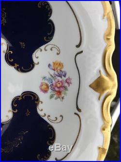 Reichenbach GDR Cobalt Pedestal Cake Plate Server Stand Germany EXC 22K Gold