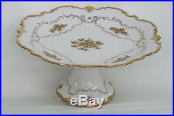 Reichenbach German Porcelain Gold Flowers Pedestal Cake Stand Plate 1684B