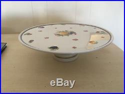 Richard Ginori New Lge Pedestal Cake Plate Italian Frute Pattern 12 3/4diam