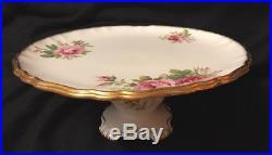 Royal Albert American Beauty HTF Pedestal Cake Plate China Base 1# England