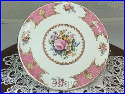 Royal Albert Lady Carlyle Footed Pedestal Cake Plate Pink Floral 9'' England