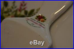 Royal Albert Old Country Roses Cake Plate Stand Pedestal & Server Utensil Set 2