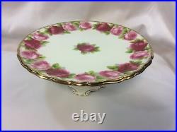 Royal Albert Old English Rose Pedestal Cake Platter Plate RARE