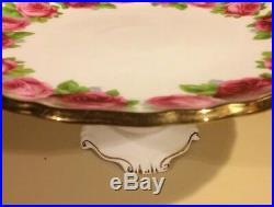 Royal Albert Old English Rose Pedestal Cake Stand Plate